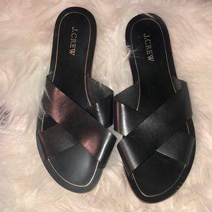 J. Crew Black Leather Cyprus Sandals Size 9